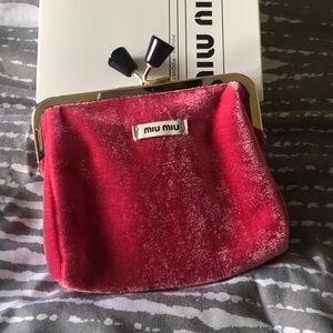 Miu Miu red velvet clutch